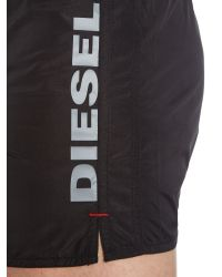 DIESEL - Black Coralred Side Logo Short Length Swim for Men - Lyst