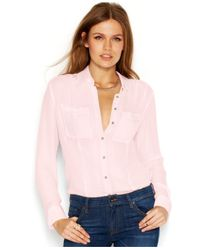 Guess - Pink Long-Sleeve Point-Collar Sheer Blouse - Lyst