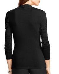 Lauren by Ralph Lauren | Black Petite Jersey Mock Wrap Top | Lyst