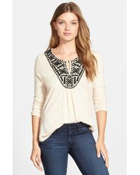Lucky Brand | Natural Embroidered-Bib Cotton-Blend Top | Lyst