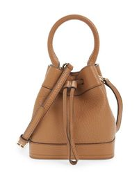 Tory Burch | Brown 'robinson' Pebbled Mini Bucket Bag | Lyst