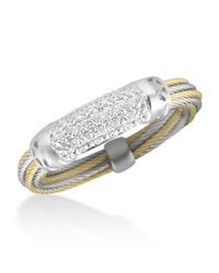 Alor - Metallic Pavé Diamond Bar Id Ring - Lyst