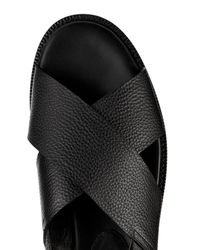 Balenciaga - Black Crossover-Strap Leather Sandals for Men - Lyst