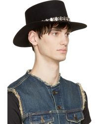 Saint Laurent - Black Rabbit Felt Silver Stud Hat for Men - Lyst