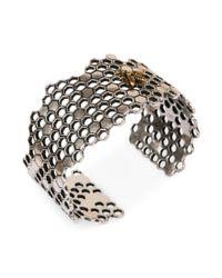 Lucky Brand - Metallic Twotone Bee Honeycomb Cuff Bracelet - Lyst