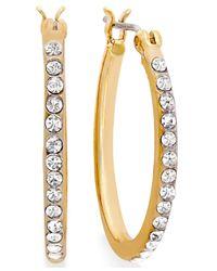 Lauren by Ralph Lauren | Metallic Gold-Tone Crystal Pave Hoop Earrings | Lyst