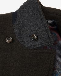 Ted Baker - Green Herringbone Peacoat for Men - Lyst