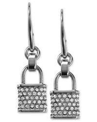 Michael Kors - Metallic Gold-Tone Pavé Padlock Charm Drop Earrings - Lyst