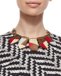 Lela Rose | Red Colorblock Wooden Necklace | Lyst