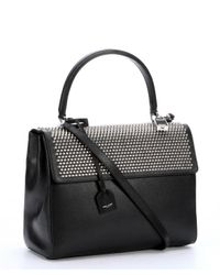 Saint Laurent - Black Leather Studded Medium 'moujik' Convertible Top Handle Bag - Lyst