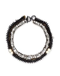 Venna | Black Star Charm Spike Collar Necklace | Lyst