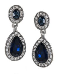Carolee | Black Silver-tone Blue Stone Pave Drop Earrings | Lyst