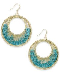 Style & Co. | Metallic Style&co. Gold-tone Blue Green Gypsy Wire Hoop Earrings | Lyst