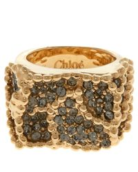 Chloé | Metallic Gold-Tone Eleanor Swarovski Crystal Ring | Lyst