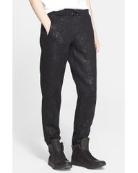 Versace Jeans - Black Print Fleece Jogger Pants for Men - Lyst
