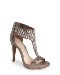 Jessica Simpson | Brown 'cydney' Embellished T-strap Sandal | Lyst