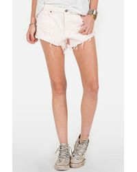 Volcom | Pink Destroyed Denim Cutoff Shorts | Lyst