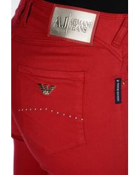 Armani Jeans - Red Jeggings In Modal And Lyocell - Lyst
