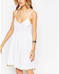 ASOS - White Sundress With Coin Hem - Lyst