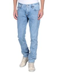 Just Cavalli - Blue Denim Trousers for Men - Lyst