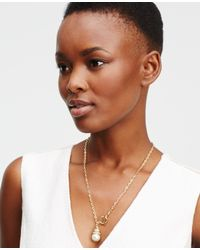 Ann Taylor - Metallic Pearlized Toggle Necklace - Lyst