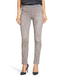 Lafayette 148 New York | Gray Skinny Suede Moto Pants | Lyst