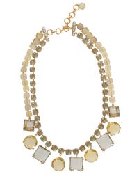 Bounkit | Multicolor Gold Circle Green Square Drop Necklace | Lyst