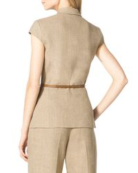 Michael Kors - Brown Linen Double-breasted Jacket - Lyst