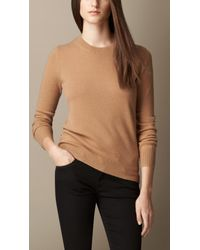 Burberry - Natural Check Elbow Patch Cashmere Sweater - Lyst