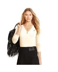 Polo Ralph Lauren - Natural Pima Cotton V-neck Sweater - Lyst