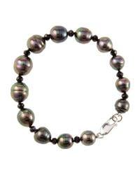 Belpearl - Tahitian Black Pearl & Spinel Beaded Bracelet - Lyst