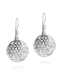 Aeravida | Metallic Flower Of Life Water Lilies Connection .925 Silver Earrings | Lyst