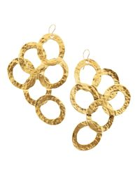 Devon Leigh | Metallic Hammered Gold Tiered Circle Earrings | Lyst