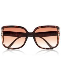 River Island - Orange Brown Tortoise Shell Oversized Sunglasses - Lyst