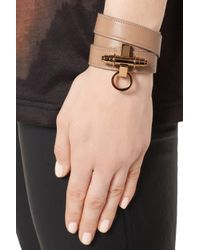 Givenchy - Natural Obsedia Bracelet in Beige Leather - Lyst