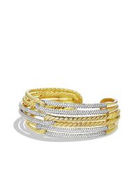 David Yurman | Metallic Labyrinth Triple-loop Cuff Bracelet Bracelet With Diamonds In Gold | Lyst