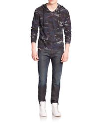 DIESEL - Blue Omoe Camo-print Hoodie for Men - Lyst