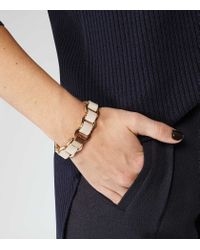 Reiss - Metallic Bella High-Shine Leather Bracelet - Lyst