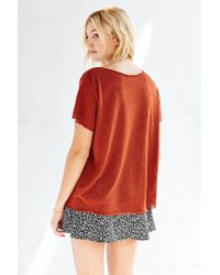 Project Social T - Brown Textured-knit V-neck Tee - Lyst
