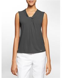 Calvin Klein | Gray White Label Drape Knot Sleeveless Top | Lyst