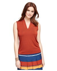Brooks Brothers | Orange Jersey Knit Sleeveless Shell | Lyst