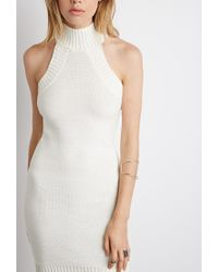 Forever 21 | Natural Mock-neck Bodycon Sweater Dress | Lyst