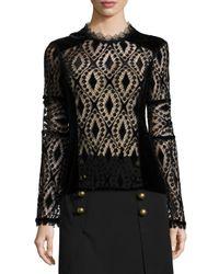 Nanette Lepore - Multicolor Long-sleeve Lace & Velvet Peasant Blouse - Lyst