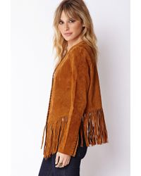 Forever 21 - Brown Contemporary Fringed Suede Jacket - Lyst