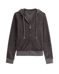 Juicy Couture | Gray J Bling Velour Hoodie - Grey | Lyst