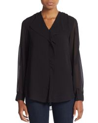 Calvin Klein | Black Ruffle-front Blouse | Lyst