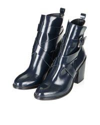 TOPSHOP   Blue Halston Buckle Boots   Lyst
