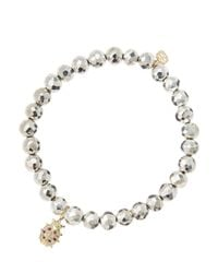 Sydney Evan - White 6mm Faceted Silver Pyrite Beaded Bracelet With 14k Gold/diamond Medium Ladybug Charm (made To Order) - Lyst