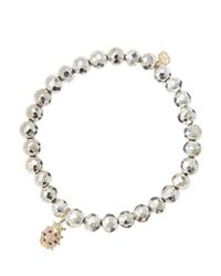 Sydney Evan | White 6mm Faceted Silver Pyrite Beaded Bracelet With 14k Gold/diamond Medium Ladybug Charm (made To Order) | Lyst