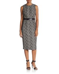 Michael Kors | Black Contrast Wool Jacquard Sheath | Lyst